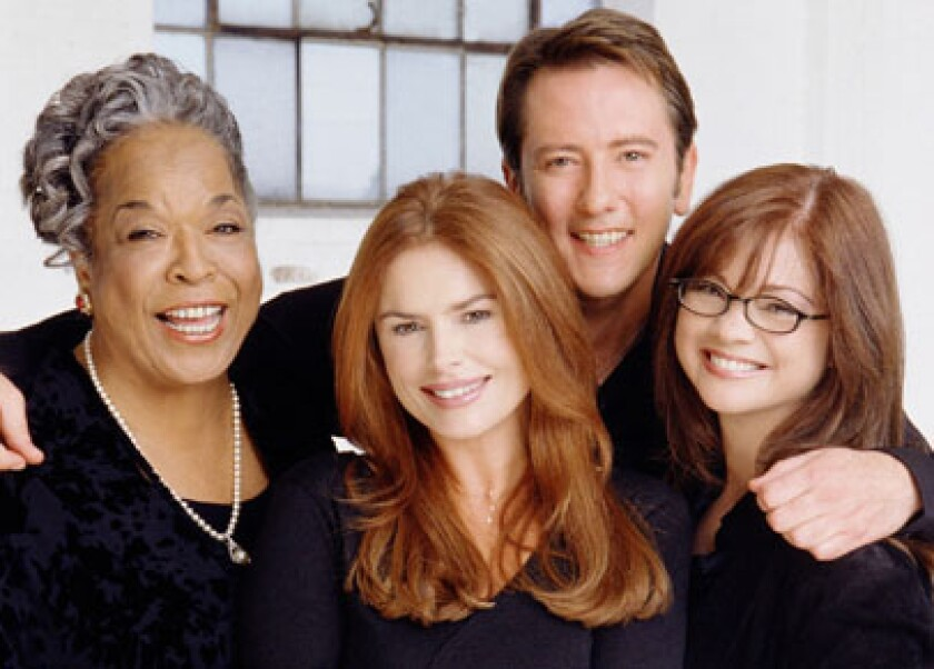 """The """"Touched by an Angel"""" cast, starring Della Reese, Roma Downey, John Dye and Valerie Bertinelli."""