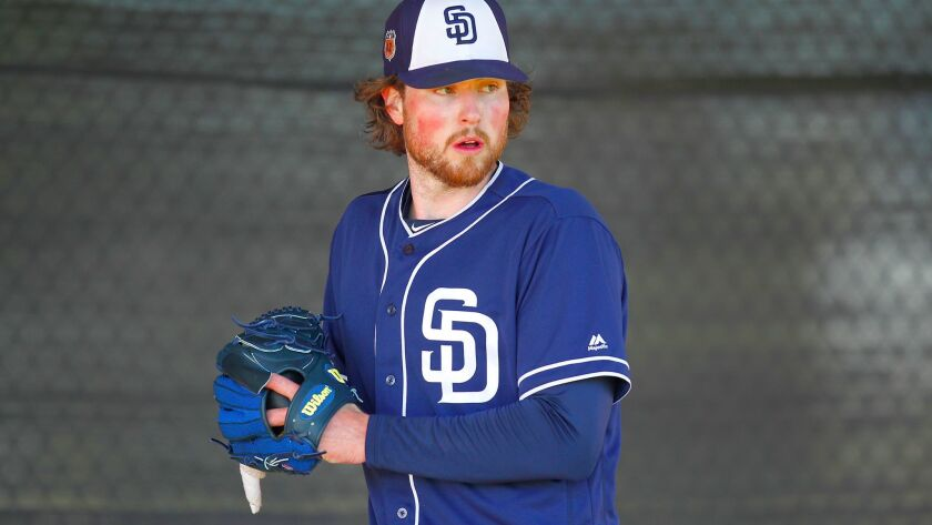 San Diego Padres Carter Capps pitches during a spring training practice. (Photo by K.C. Alfred/The S