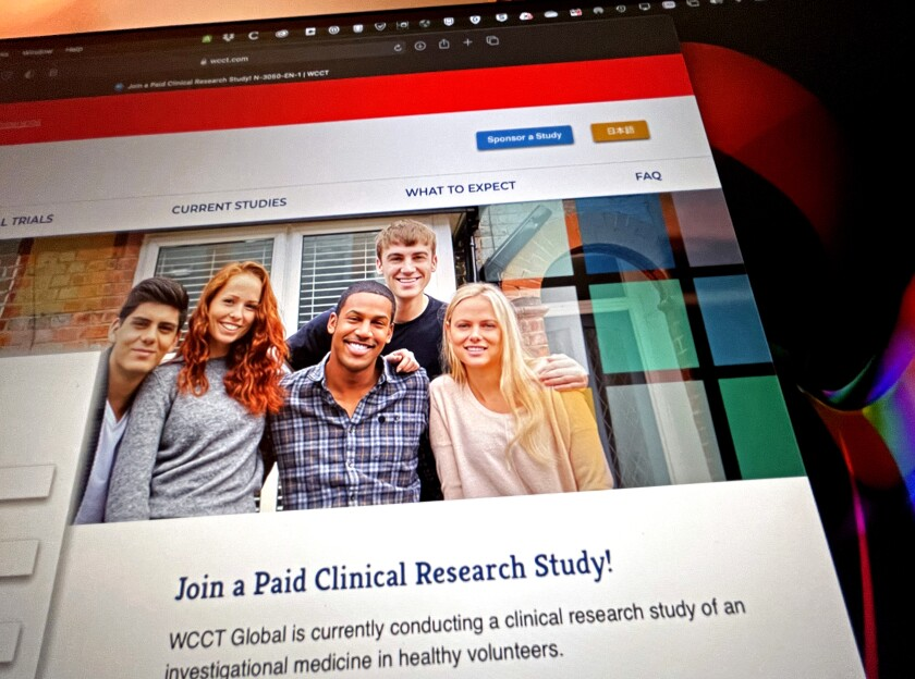 "A website screenshot that says ""Join a Paid Clinical Research Study"""
