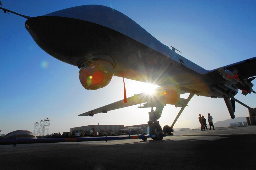 A Predator drone in Kandahar, Afghanistan. A growing fleet of U.S. spy planes and drones in Asia, Africa, the Middle East and elsewhere allows Air Force analysts to gather intelligence without ground combat troops.