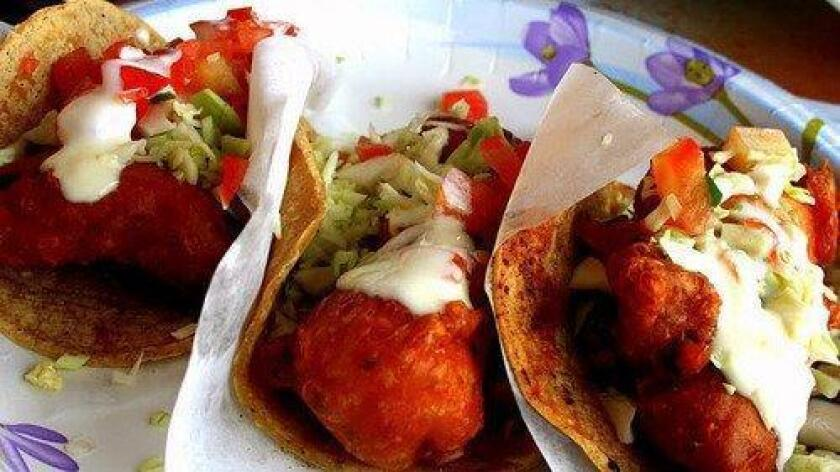 The 99-cent fish tacos at TJ Oyster Bar. (Amy T. Granite)