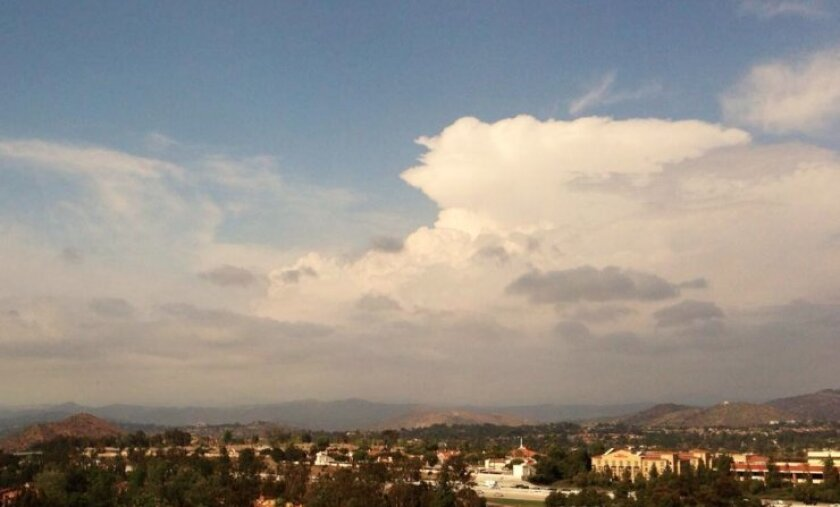 The National Weather Service captured this image Friday of a thunderstorm developing over the Lake Henshaw area.