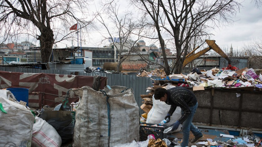 Afghan refugees in Istanbul make a living searching for plastic, metal, cardboard or other materials that they can sell.