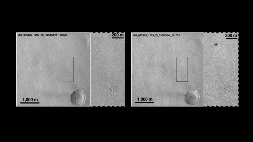 Before and after views of the suspected Schiaparelli landing site on Mars.
