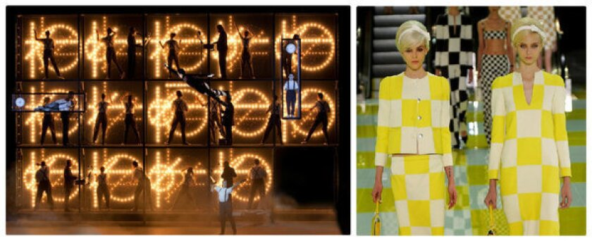 """Left, a scene from """"Einstein on the Beach."""" The original creators will be collaborating with the L.A. Opera on a production of the influential avant-garde opera, which will be performed Oct. 11-13 in Los Angeles. Right, a look from the Marc Jacobs for Louis Vuitton Spring-Summer 2013 show during Paris Fashion Week."""