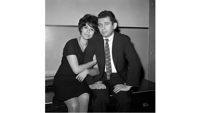 In this 1960 photo Adele Morales Mailer is shown sitting in court with then-husband Norman Mailer, wheh he faced charges that he stabbed her at a drunken party. She died Sunday at 90.