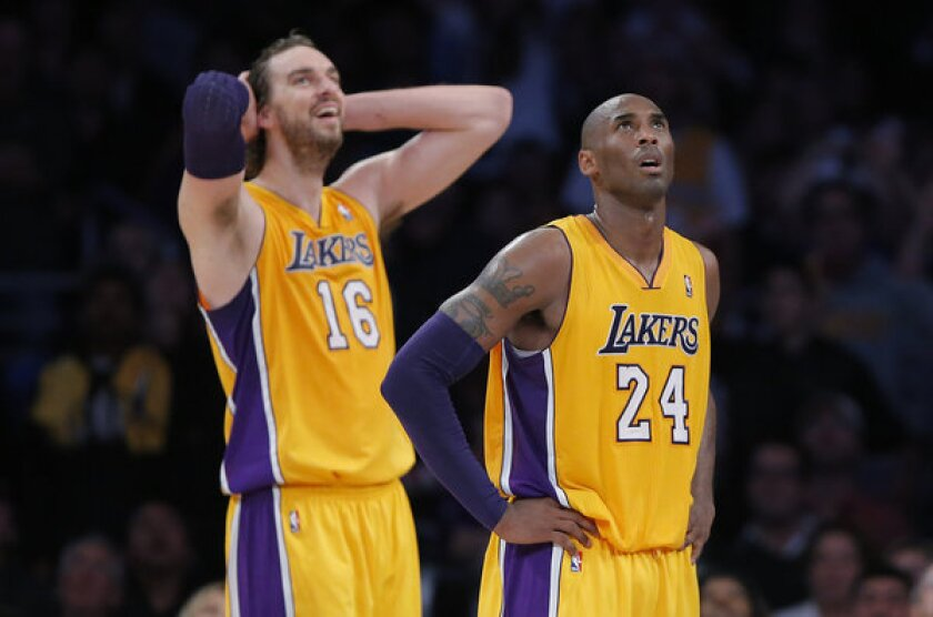 Kobe Bryant and Pau Gasol during a game against the Indiana Pacers at Staples Center.