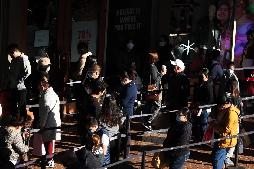 Shoppers fill the walkways at the Citadel Outlets in Los Angeles on Black Friday in Los Angeles.
