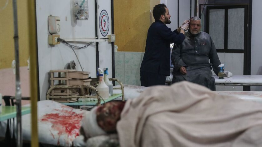 At least 25 people killed in government air raids in Eastern Ghouta, Mesraba, Syria - 03 Jan 2018