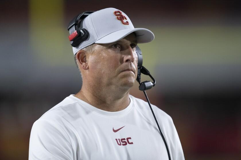 Clay Helton coaches USC against Fresno State.