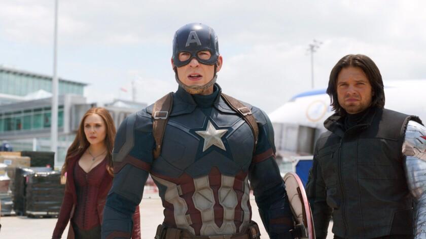 "Elizabeth Olsen, left, Chris Evans and Sebastian Stan in Marvel's ""Captain America: Civil War,"" a popular target for online pirates."