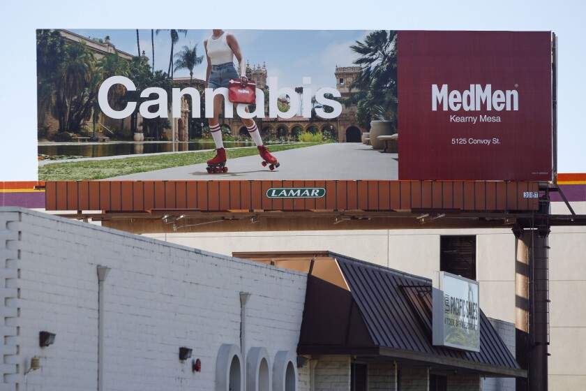 A billboard on Morena Boulevard that advertised the MedMen marijuana store in San Diego in October.
