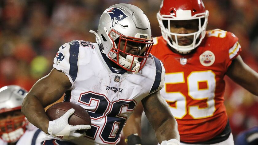 Patriots rookie Sony Michel has rushed for 242 yards in two games this postseason.