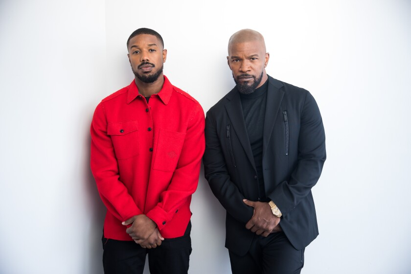 Michael B. Jordan, left, and Jamie Foxx stand for a portrait on Sept. 9, 2019, in New York City.