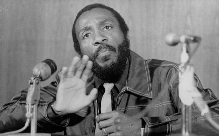 Dick Gregory speaks to students at the University of South Florida in 1971.