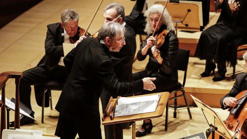 Michael Tilson Thomas conducts the San Francisco Symphony in Berg's Violin Concerto with Gil Shaham (center rear) as soloist at Walt Disney Concert Hall Tuesday