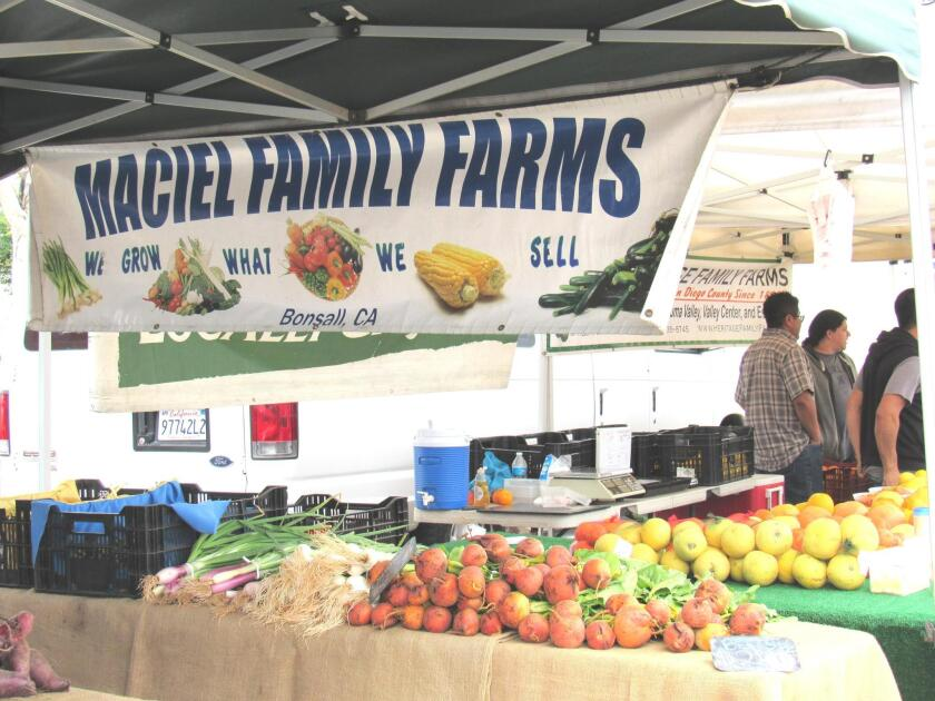 Some 52 local vendors bring their wares to the PB Farmers Market each Tuesday, from 2 to 7 p.m. along Bayard Street in Pacific Beach.