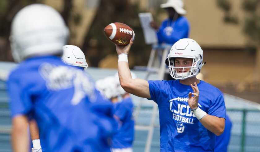 LJCD's Braxton Burmeister, who has 602 yards passing in two games, will take on La Jolla's defense Friday night. Burmeister has committed to Arizona.