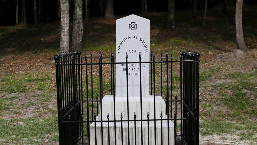 """A Confederate monument called """"Unknown Alabama Confederate Soldiers,"""" is unveiled in the Confederate"""
