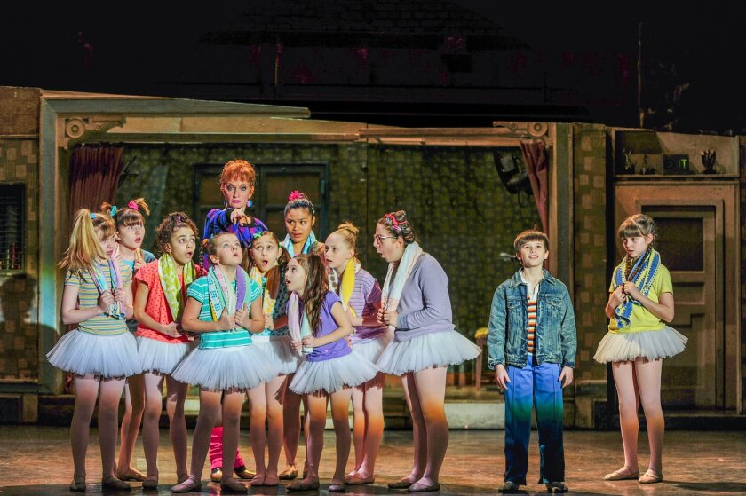 """Janet Dickinson (Mrs. Wilkinson), Mitchell Tobin (Billy), Samantha Blaire Cutler (Debbie) and the cast of """"Billy Elliot the Musical.""""   CREDIT: Amy Boyle"""