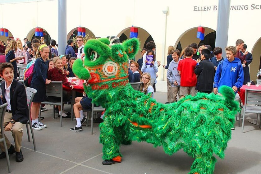A Chinese lion-dance troupe performs at The Bishop's School in La Jolla as part of the school's Lunar New Year activities on Feb. 19, 2015.