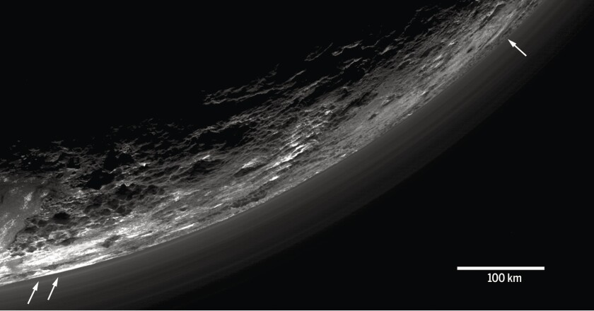 """Image from """"The atmosphere of Pluto as observed by New Horizons,"""" by G.R. Gladstone et al"""