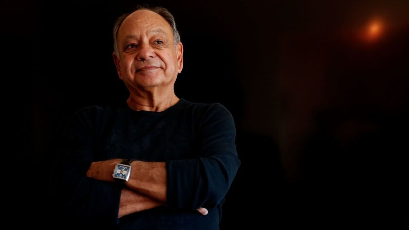 Actor and comedian Cheech Marin, photographed at his home in Pacific Palisades, tells the story of his rise to fame in a new memoir.