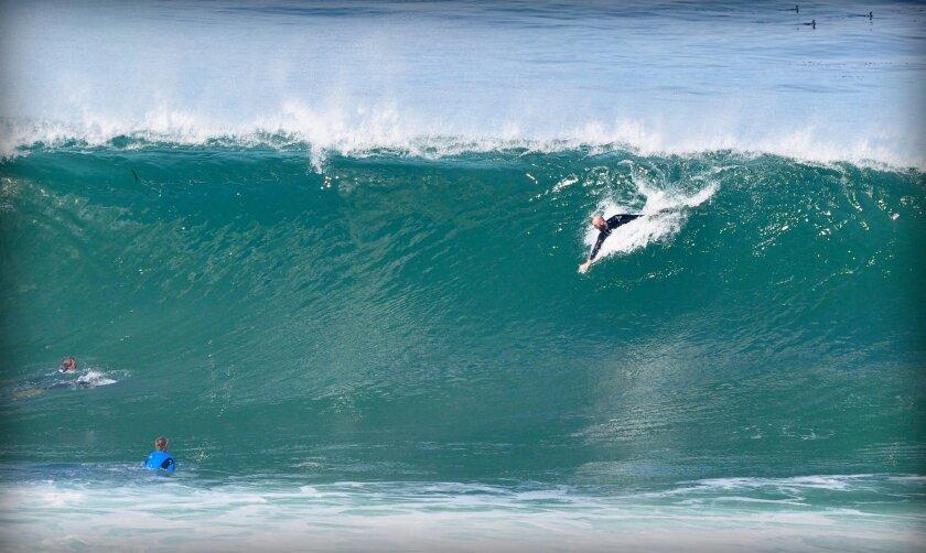 Body surfing at Boomers in La Jolla. Greg Wiest