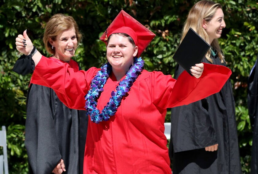 Victoria Ashley celebrates at the Back Bay/Monte Vista High School commencement ceremony on Thursday, June 10, 2021.