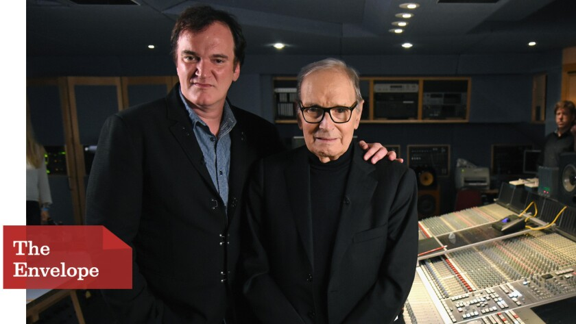 "Quentin Tarantino, left, had used music by Ennio Morricone in some of his earlier films, but ""The Hateful Eight"" marks the first time the composer has created a score for the writer-director."