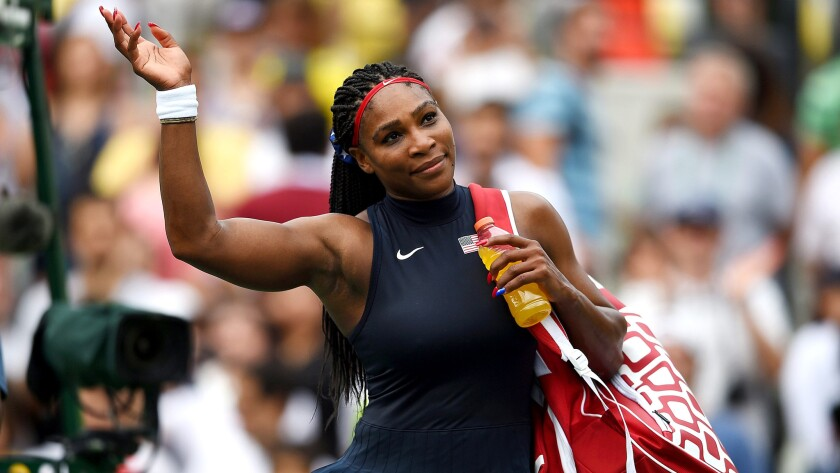 Serena Williams acknowledges the crowd after defeating Daria Gavrilova in a first-round match Sunday in Rio de Janeiro.