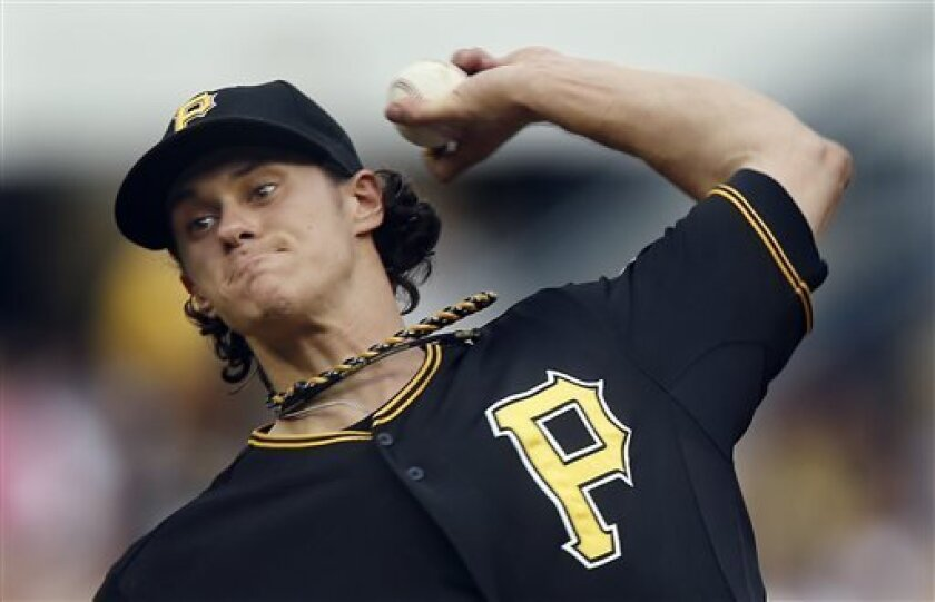 Pittsburgh Pirates starting pitcher Jeff Locke throws against the Oakland Athletics in the first inning of the baseball game on Monday, July 8, 2013, in Pittsburgh. (AP Photo/Keith Srakocic)