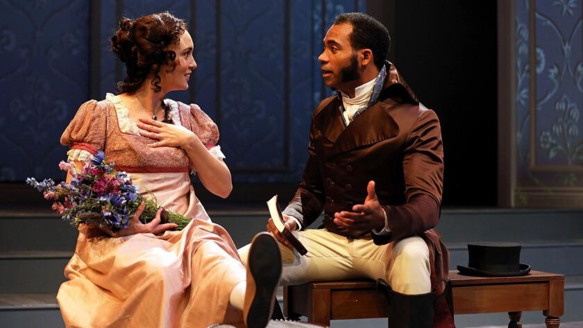 """Rebecca Mozo and Preston Butler III in South Coast Repertory's """"Sense and Sensibility."""" Photo Credit"""
