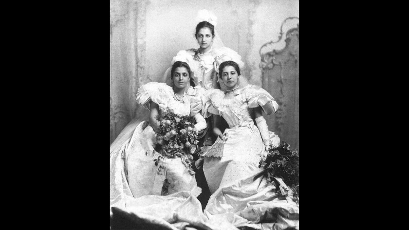 Princesses Bamba, left, Catherine and Sophia Duleep Singh at their debut at Buckingham Palace, 1894.