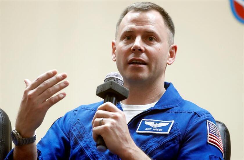 El astronauta Nick Hague participa en una rueda de prensa. EFE/Archivo