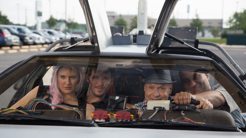 """Maggie Grace, left, Ryan Kwanten, Brooks Braselman and Russell Peters in the movie """"Supercon."""""""