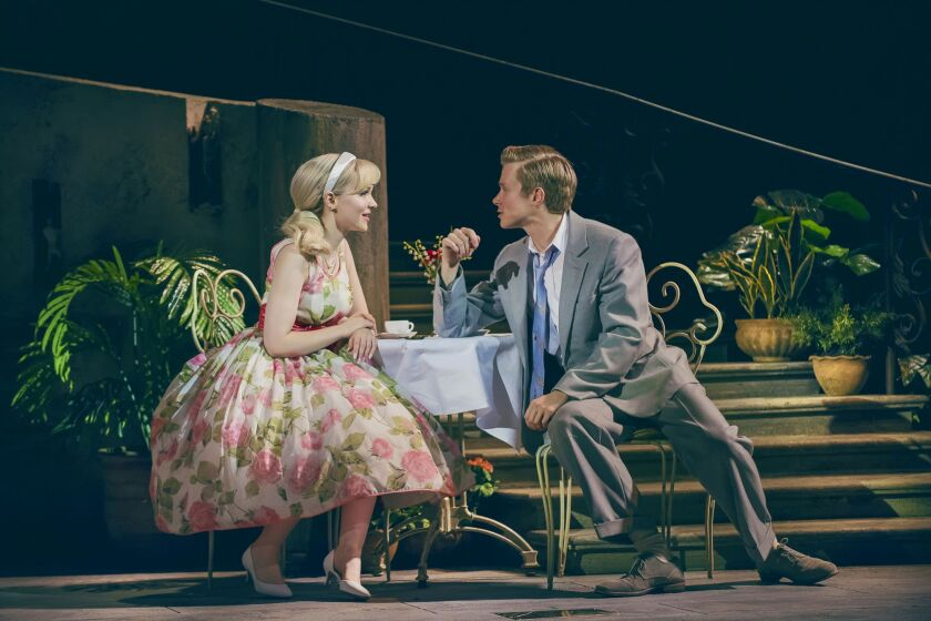 "Dove Cameron at Clara and Rob Houchen as Fabrizio in ""The Light in the Piazza"" in the 2019 London production"