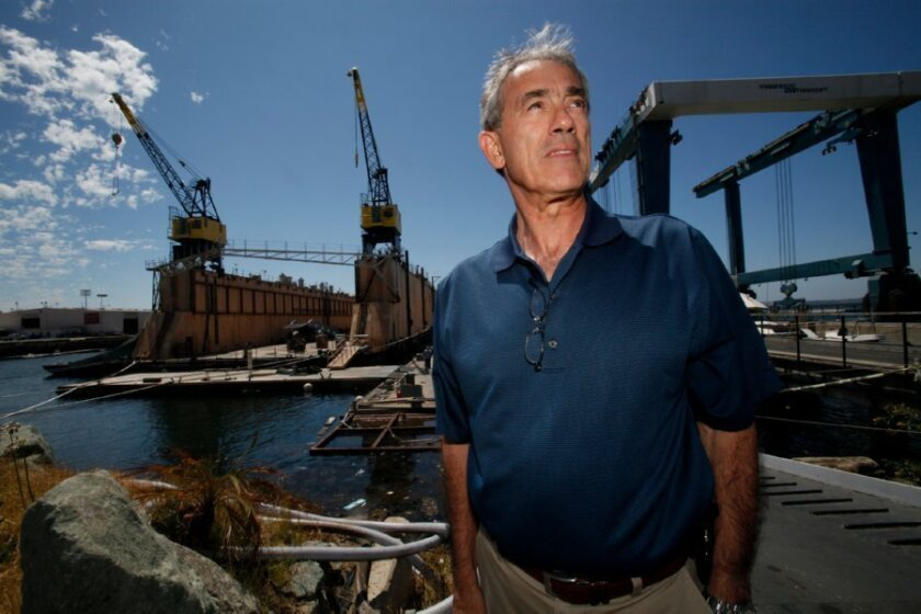 Michael O'Leary, of Knight & Carver Yacht Center in National City, is waiting for a final permit from the San Diego Regional Water Quality Board before work can start at a floating dry dock his company recently acquired.
