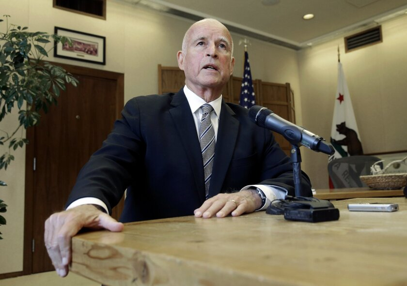 Gov. Jerry Brown, pictured here in the Capitol the day after winning reelection in November, was sworn in for his fourth term on Monday in Sacramento.