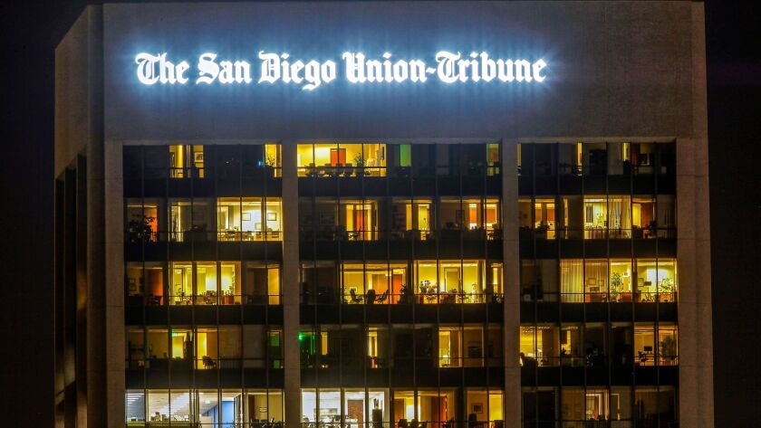 SAN DIEGO, January 17, 2017 | The San Diego Union-Tribune sign at 600 B Street in San Diego on Tuesd