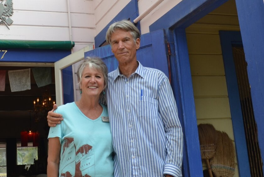 Carolyn Cope of the Encinitas Historical Society with Garth Murphy.
