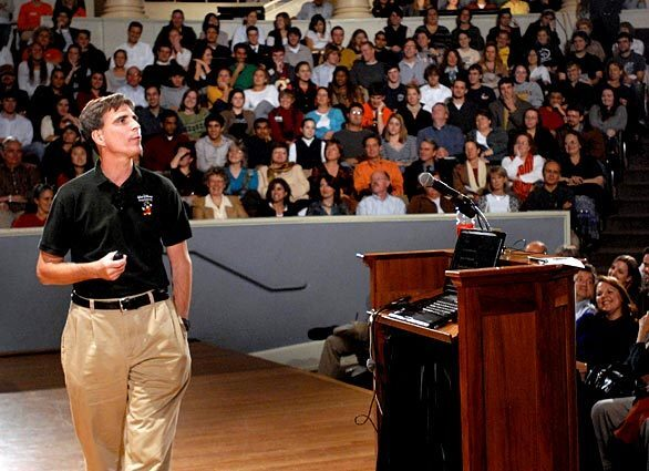 """Randy Pausch, a former University of Virginia professor, gives his final lecture on time management to a packed house on the Charlottesville, Va., campus in November 2007. Pausch, a Carnegie Mellon University computer scientist whose """"last lecture"""" about facing terminal cancer became an international sensation and a best-selling book, died today from complications of pancreatic cancer at 47."""