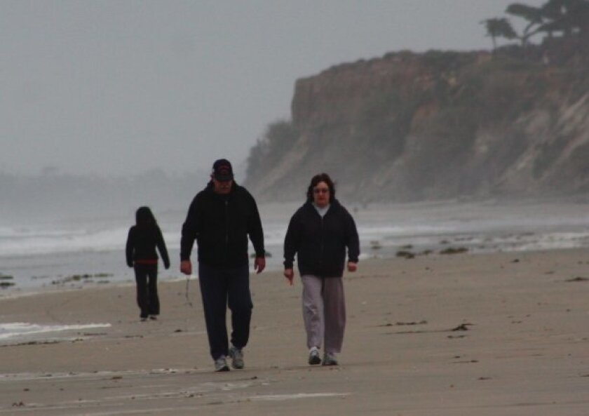 The marine layer along the coast today is about 4,500 feet thick. This photo was taken early Sunday.