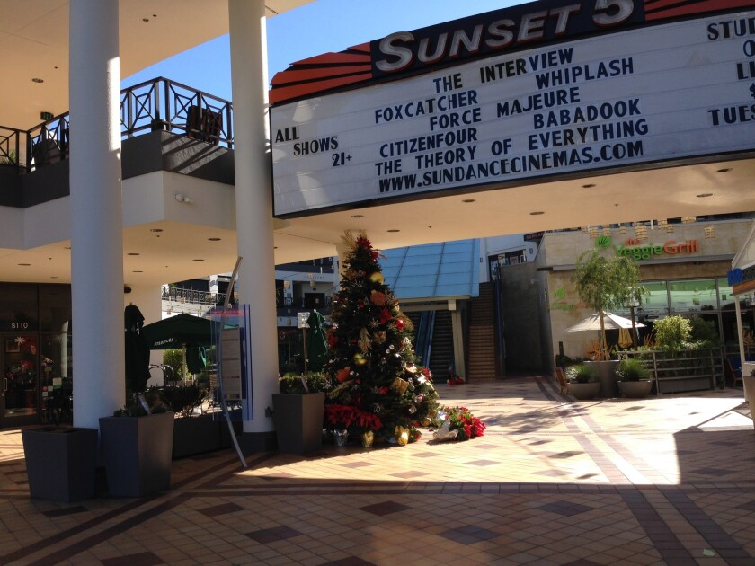 """The Sundance Sunset Cinemas in West Hollywood did not appear to have extra security measures in place for its Christmas Day screenings of """"The Interview."""""""