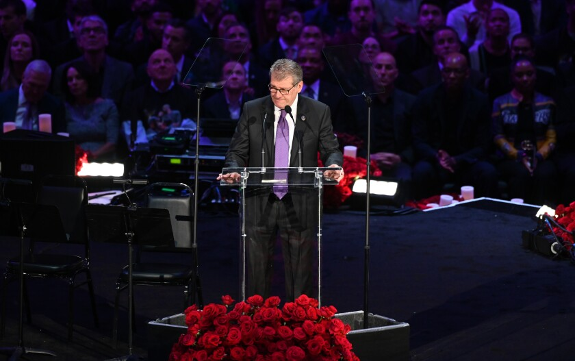 LOS ANGELES, CA., Geno Auriemma speaks at the Kobe & Gianna Bryant Celebration of Life on Monday at Staples Center on Monday 24, 2020 (Wally Skalij / Los Angeles Times)