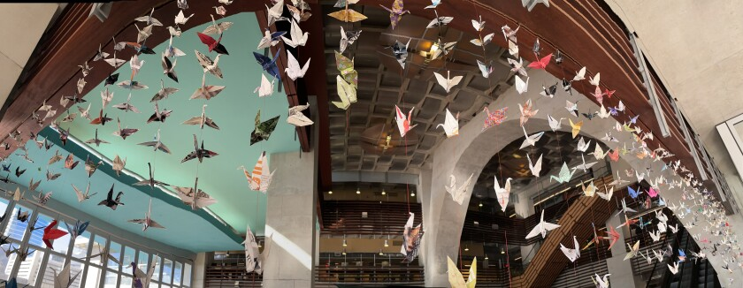 The San Diego Public Library foundation is collecting paper cranes made by the public for its Cranes for Peace display.