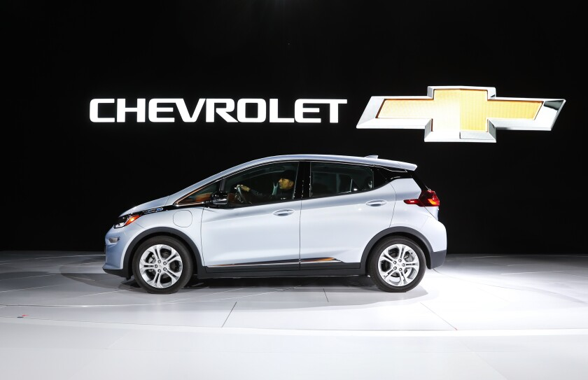 File photo the Chevrolet Bolt at the North American International Auto Show in Detroit.