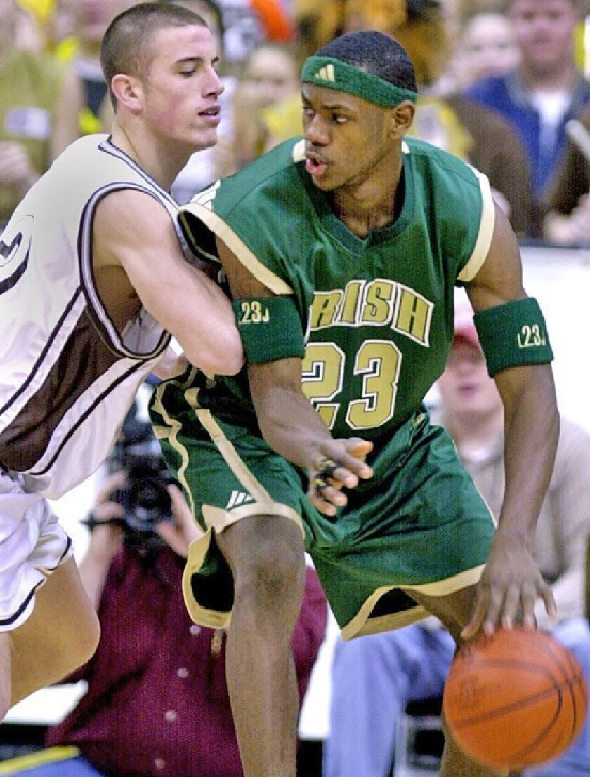 Beckham Wyrick goes head-to-head with LeBron  James in a 2002 state championship game in  Ohio. (2002 file photo / Cincinnati Enquirer)