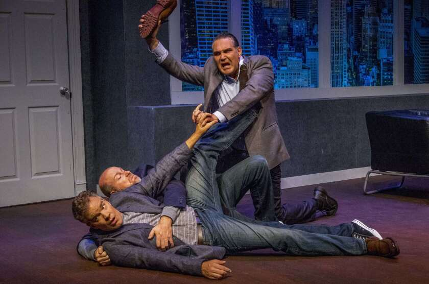 "Jason Heil, Jacob Bruce and Daren Scott (from left) in Intrepid Theatre's ""Art."""