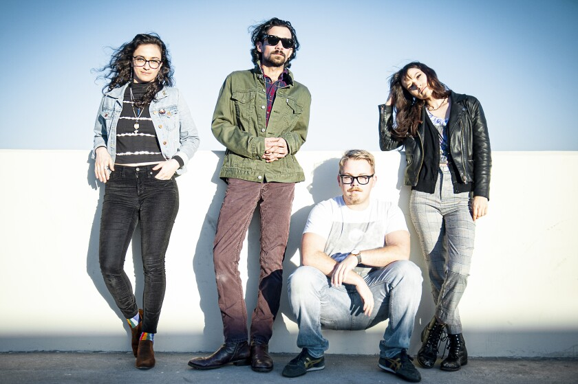 Belladon band members are, from left, Heather Nation on guitar and vocals, Billy Petty on drums, Alex Bravo on bass and vocals, and Aimee Jacobs on synth and vocals.